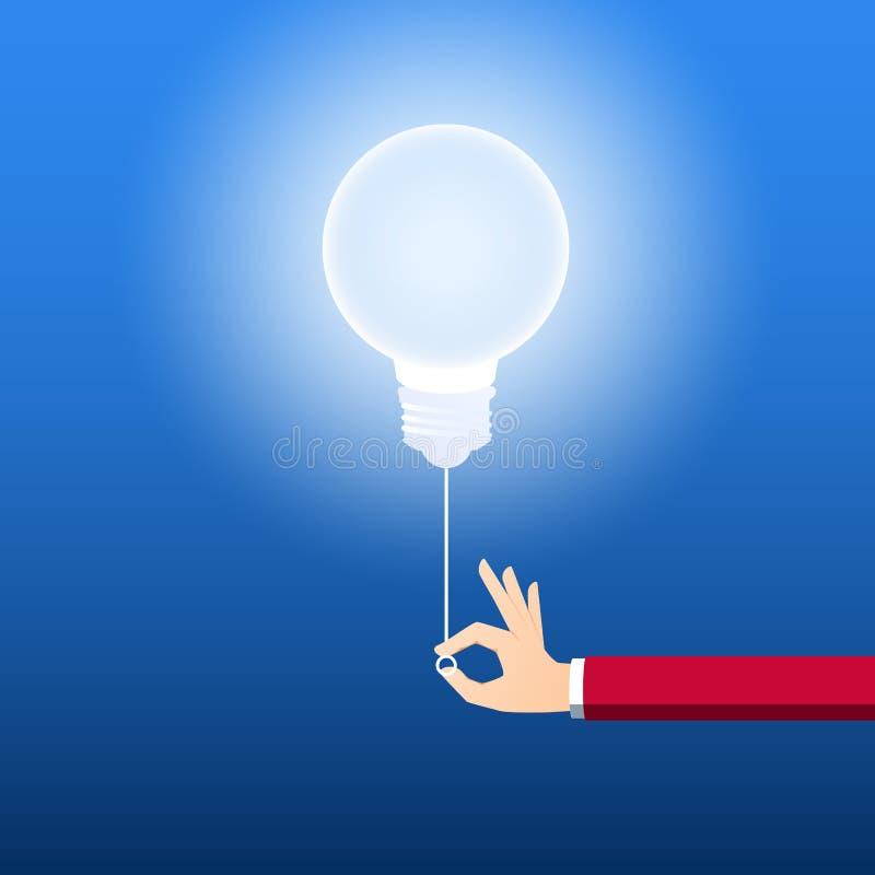 Gire sobre o conceito criativo da ampola Homem de negócios que puxa o interruptor da luz para girar sobre a ideia Conceito creati ilustração royalty free