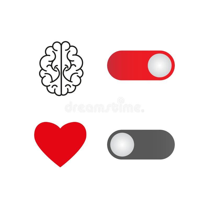Gire sobre seu cérebro e fora de seu coração para fazer a lógica escute seu cérebro Projeto liso para o advertisin de mercado fin ilustração do vetor