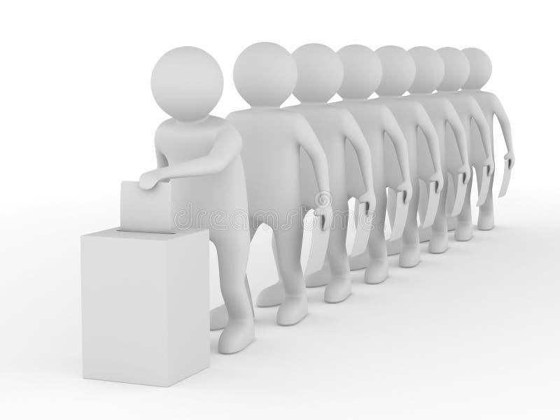 Gire votando no branco. 3D isolado ilustração stock