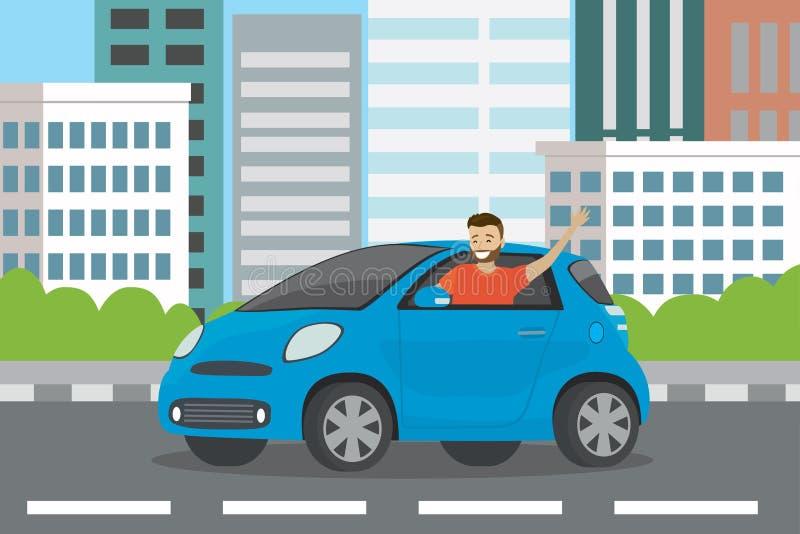 Giri automatici dell'autista del giovane uomo caucasico felice in automobile blu illustrazione di stock