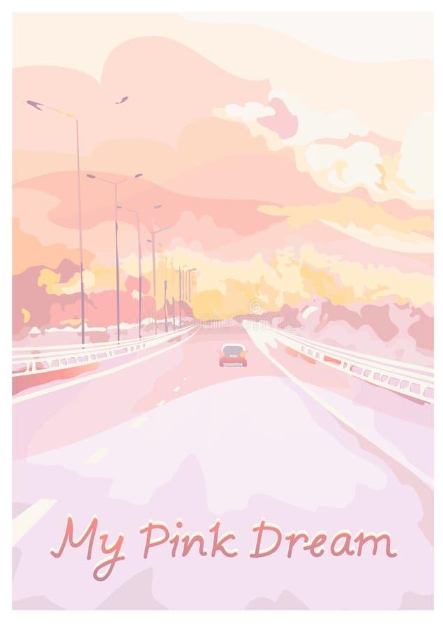 Giri dell'automobile sulla strada principale Illustrazione colorata rosa royalty illustrazione gratis