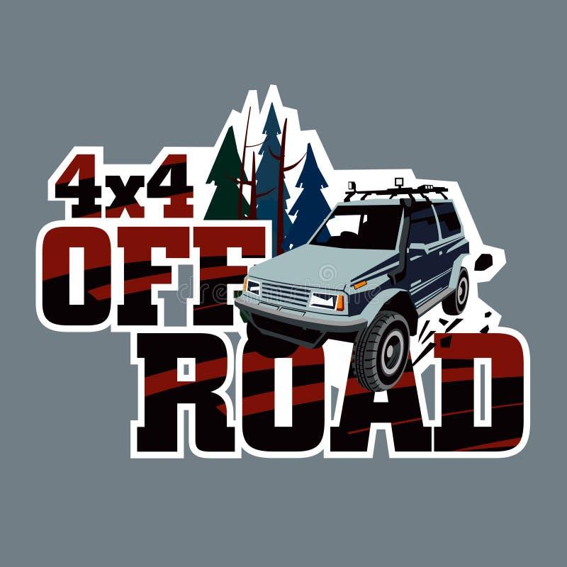 Giri di SUV nel selvaggio Logo dell'evento Raduni sul terreno ruvido su un'automobile sintonizzata Autoadesivo sull'automobile illustrazione di stock