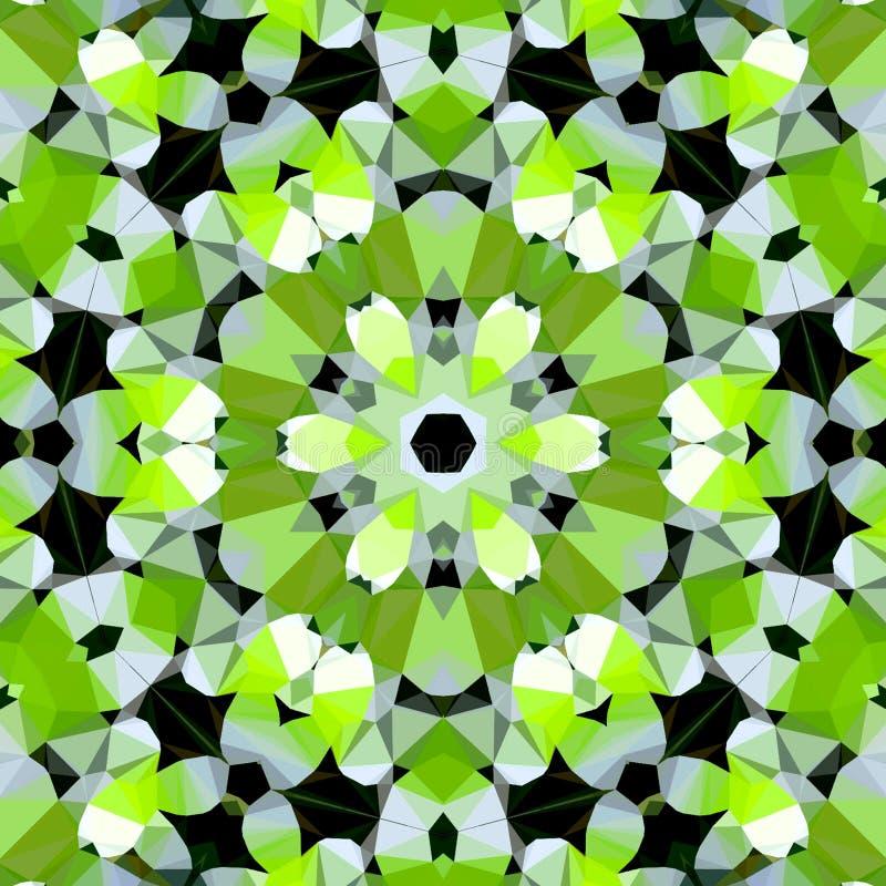 Giri il modello di fiori poligonale in verde chiaro, in bianco e nero, immagine della molla illustrazione vettoriale