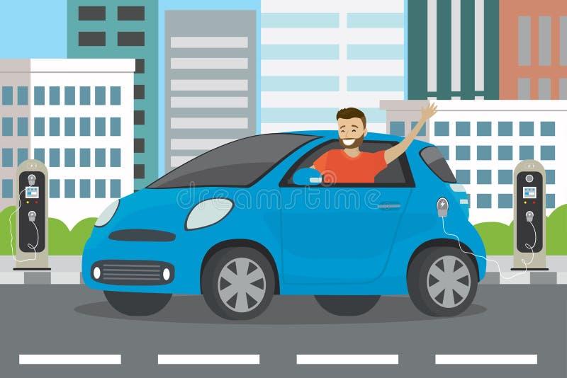Giri maschii del fumetto felice in automobile elettrica blu ed elett. caucasici illustrazione vettoriale