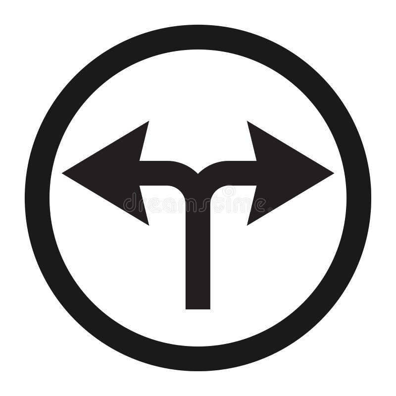 Giri a sinistra o radrizzi la linea icona del segnale stradale illustrazione di stock