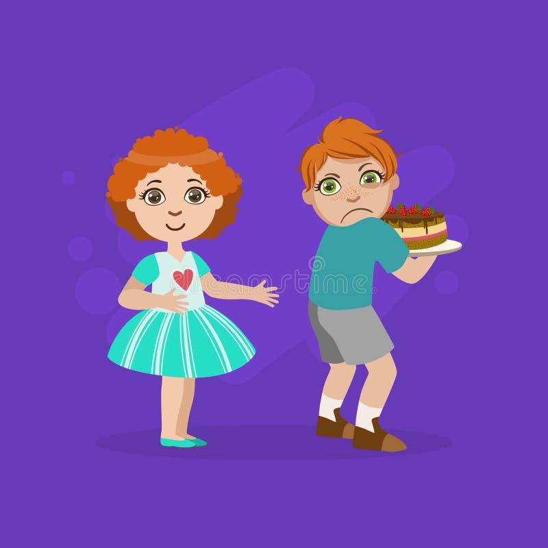 Girig pojke som inte delar kakan med flickan, dålig uppförandevektorillustration royaltyfri illustrationer
