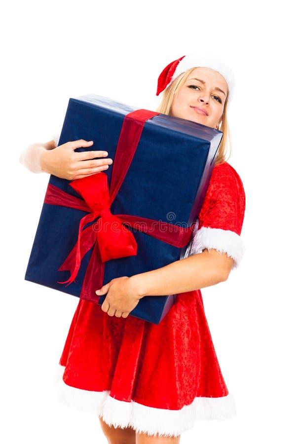 Girig Santa kvinna med den stora julgåvaasken arkivfoton