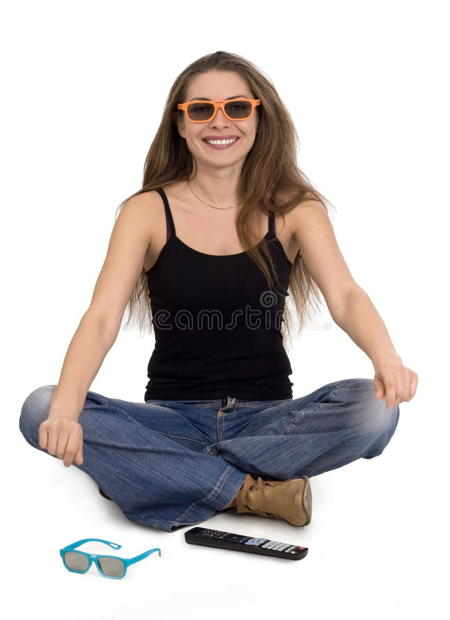 Download Girl with 3d glasses stock image. Image of caucasian - 24194913