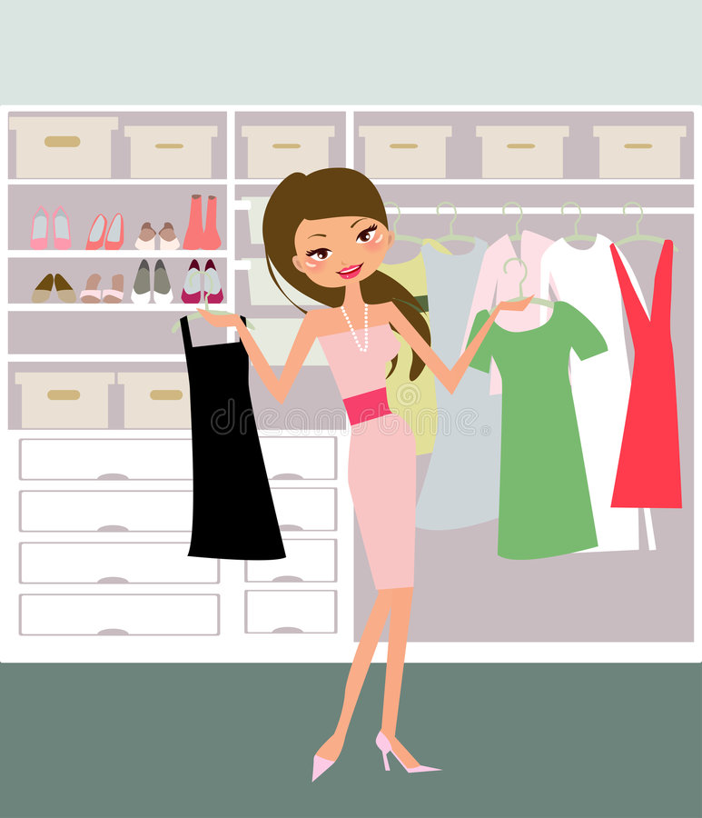 Girl. Woman looking through her closet at clothes - figuring out what to wear