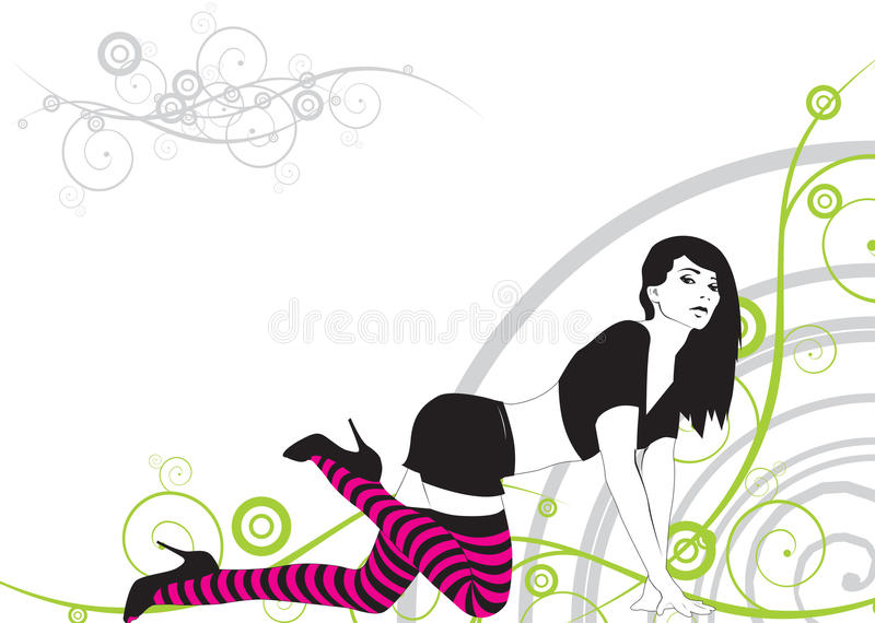 Download The girl stock vector. Illustration of floral, skirt, attractive - 9403758