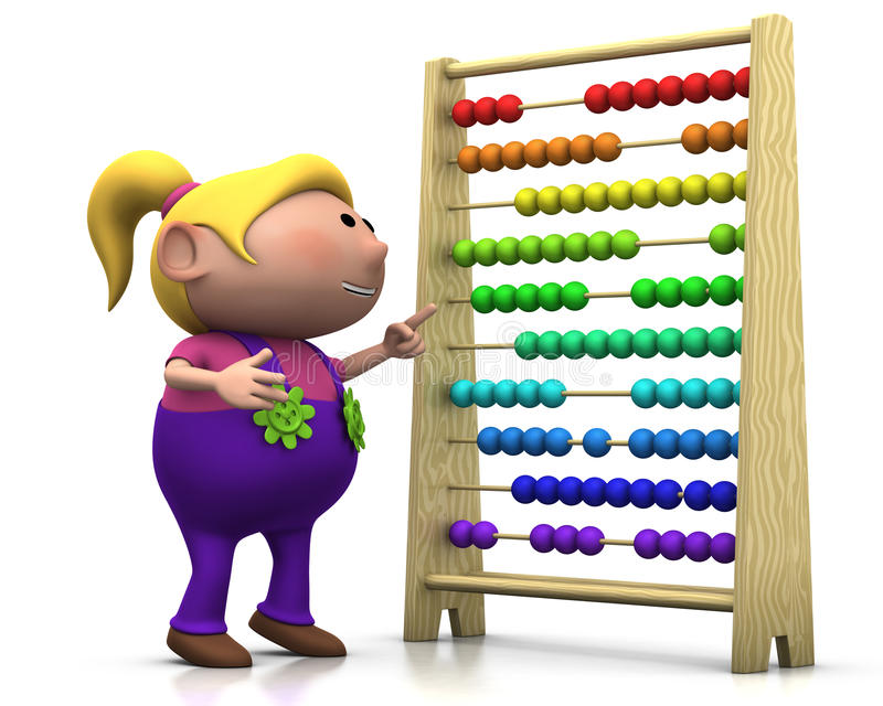 Girl with abacus. 3d rendering/illustration of a cute cartoon girl pointing at an abacus stock illustration