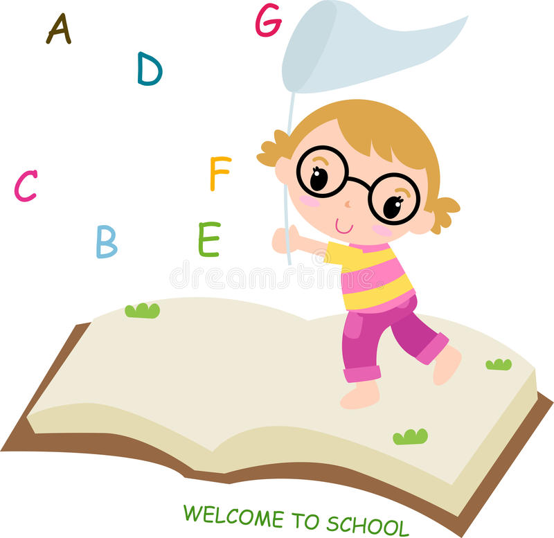 Girl and ABC vector illustration