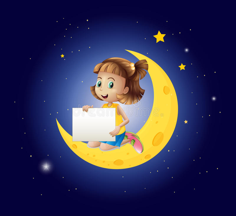 A girl above the moon with an empty signboard. Illustration of a girl above the moon with an empty signboard stock illustration