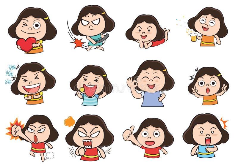 Girl acting cartoon. Emotion cartoon character vector illustration