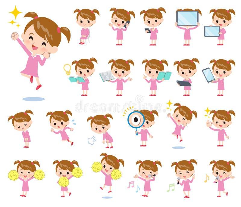Girl_Action cor-de-rosa da roupa ilustração royalty free