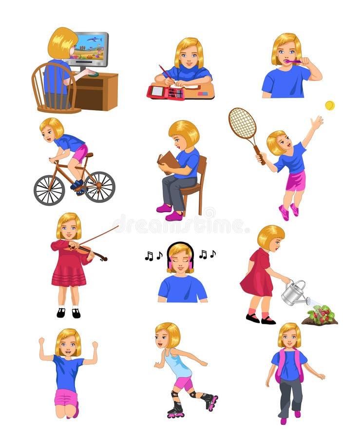 Girl Activities stock illustration