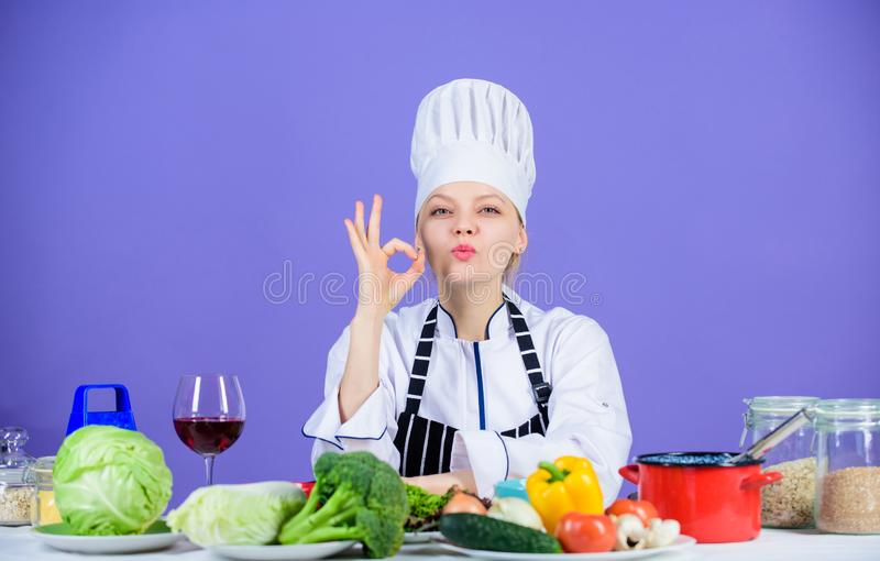 Girl adorable chef teach culinary. Best culinary recipes to try at home. Perfect recipe. Turn ingredients into delicious royalty free stock photography