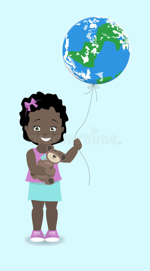 Girl African, American holds the Earth, like a balloon. Vector i. Llustration stock illustration