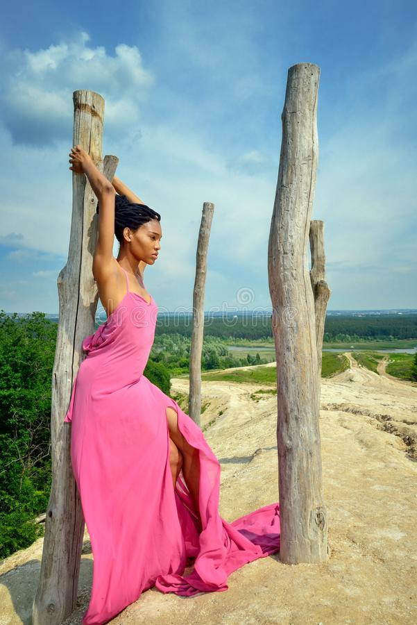 The girl of African belonging, with dreads on her head, in a pink dress, stands on a high hill leaning against a dry tree against royalty free stock images