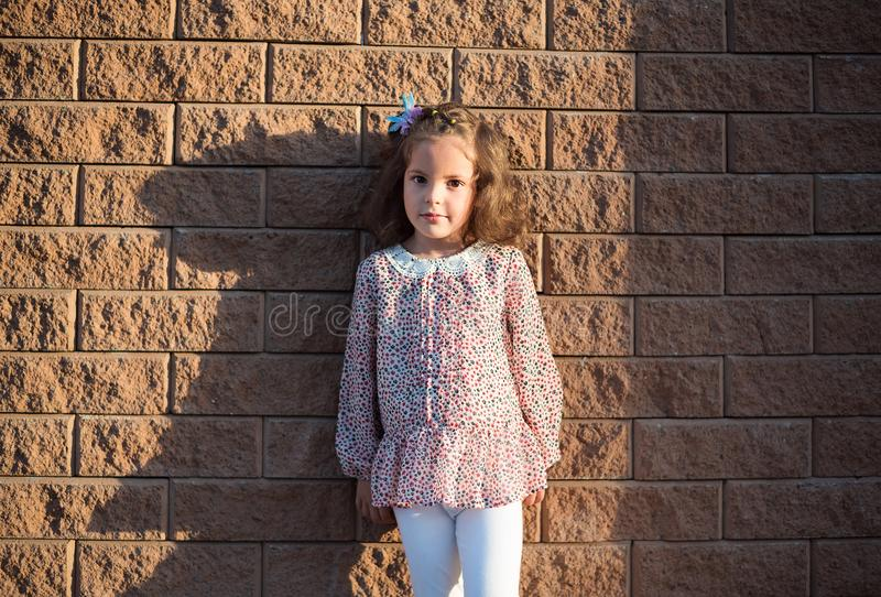 The girl against the background of a brick wall stock image