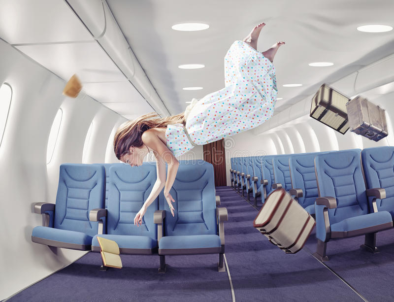 The girl in an airplane. Flying girl in an airplane. Creative concept