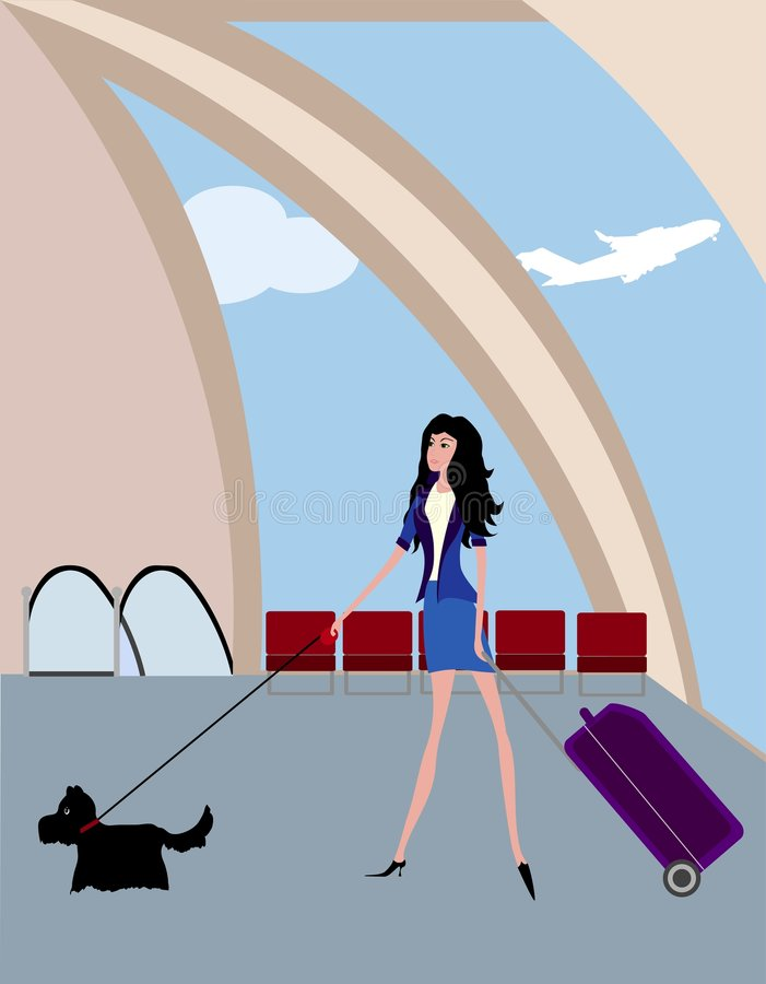 Girl in the airport vector illustration