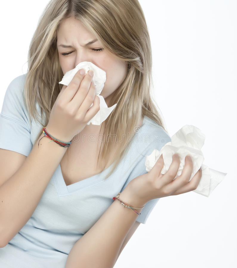 Girl with allergies stock photos