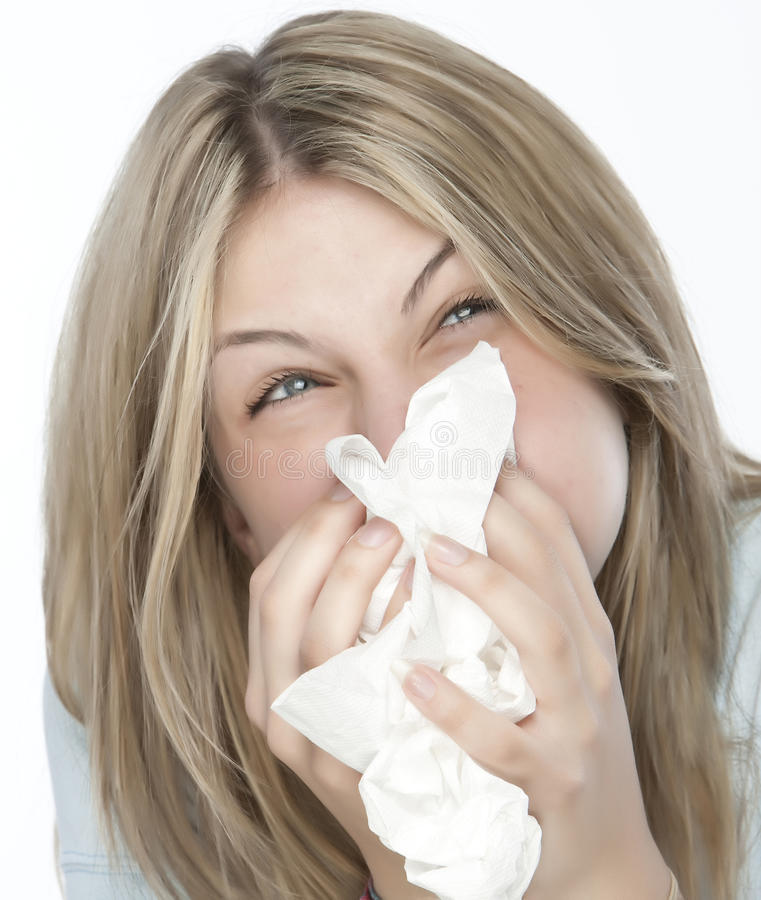 Girl with allergies stock photography