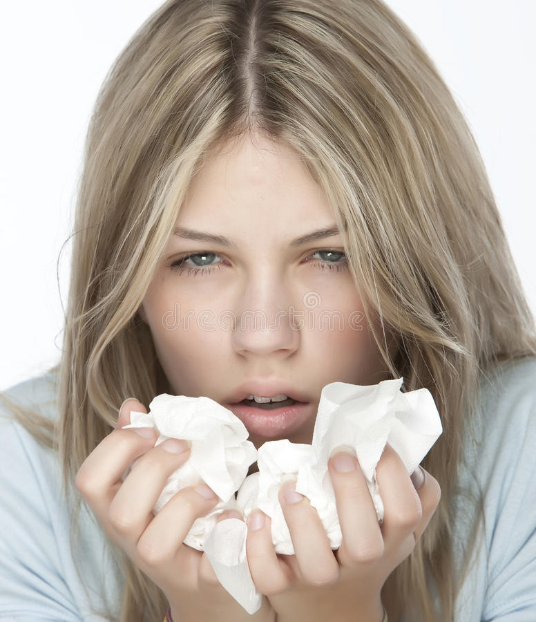 Girl with allergies royalty free stock image