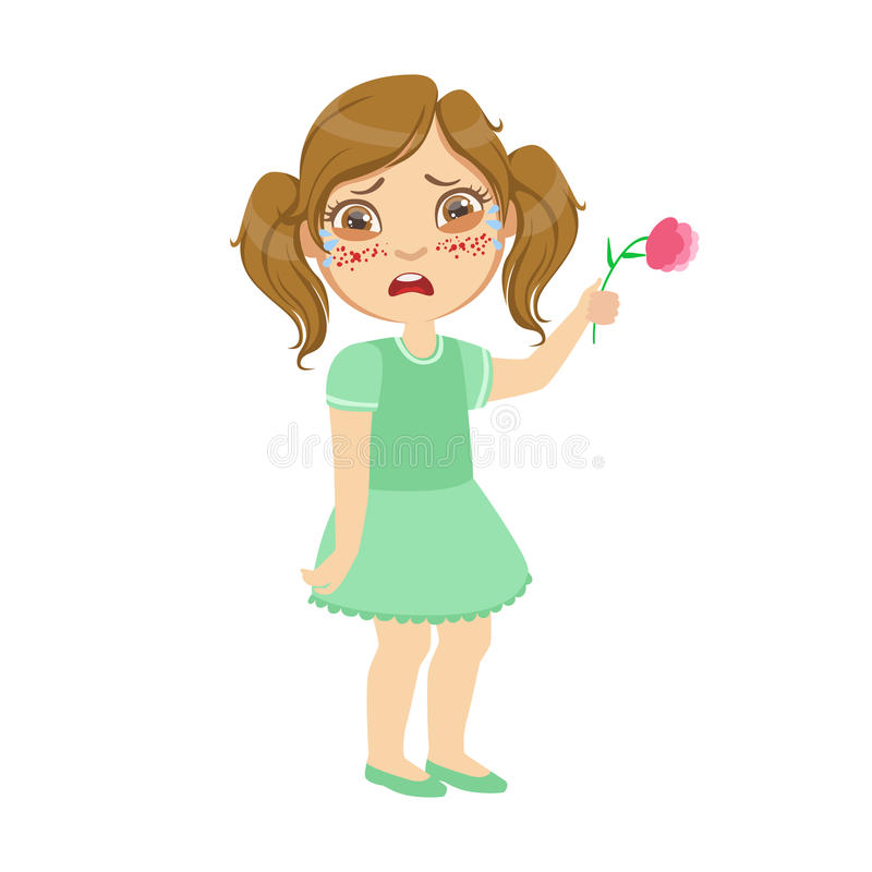 Girl With Allergy On Flowers,Sick Kid Feeling Unwell Because Of The Sickness, Part Of Children And Health Problems vector illustration