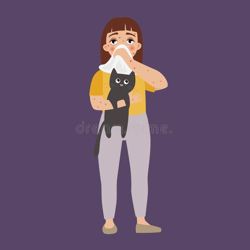 Allergy infographic. Vector. A girl with an allergy holds a cat. Symptoms of allergy vector illustration