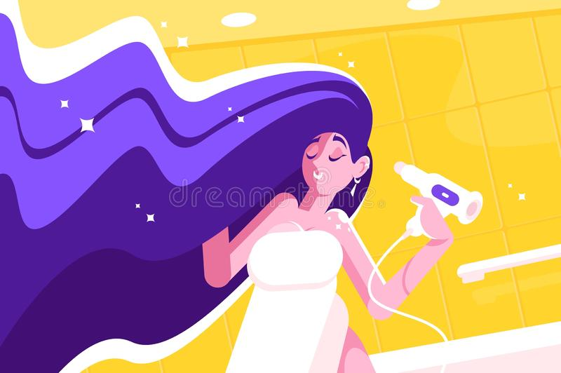 Girl with amazing long hair blowing dry stock illustration
