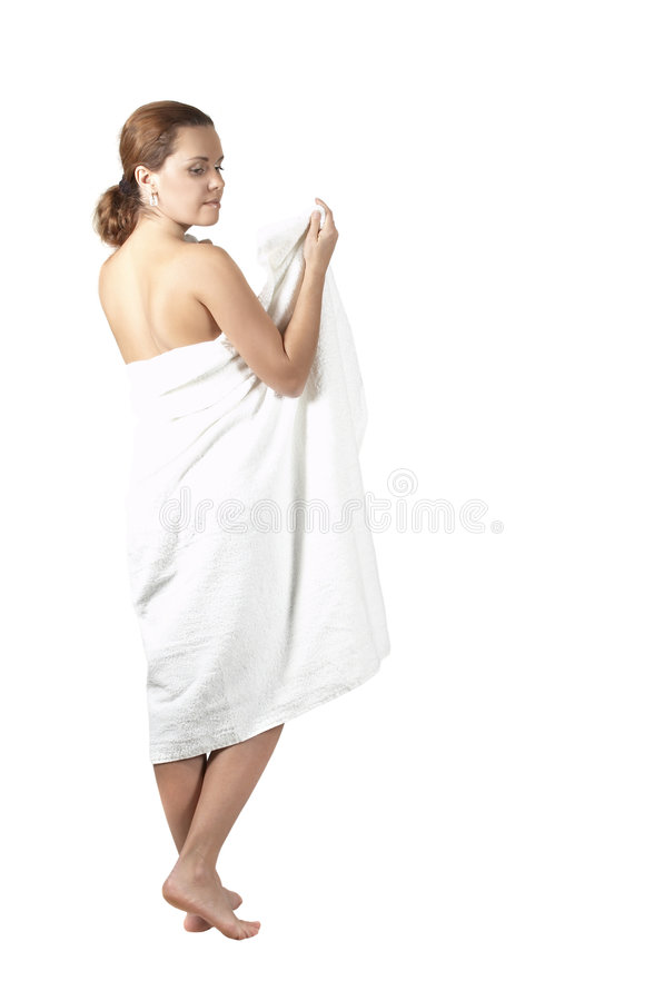 Girl the ambassador soul with a towel. Portrait of the sexual woman in the ambassador by a bath stock photography