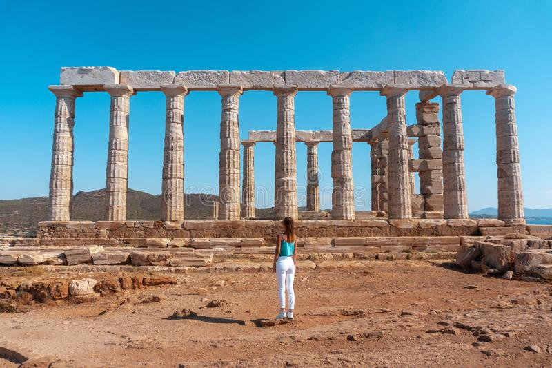 Close up of ancient greek ruins stock photography