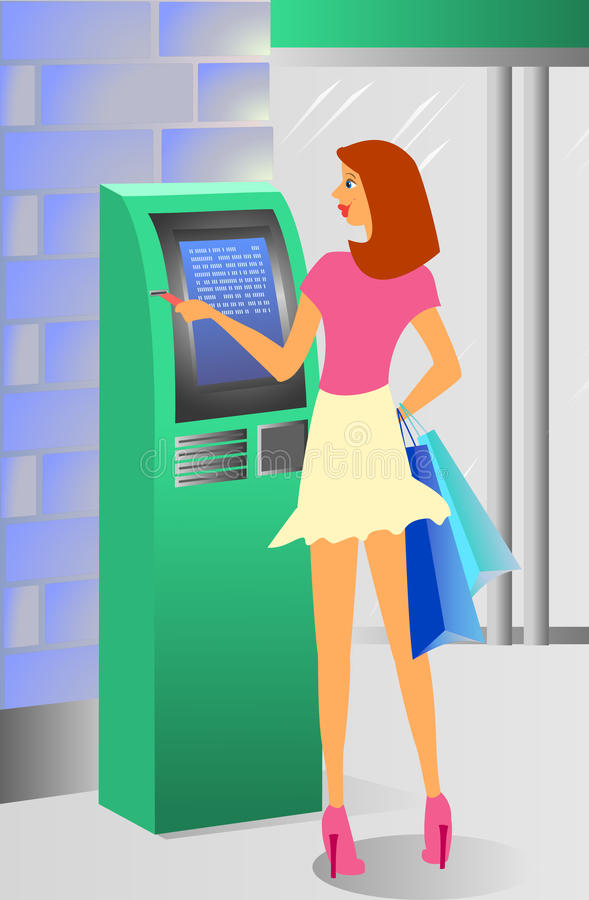 Free Girl And ATM Royalty Free Stock Photo - 10459065