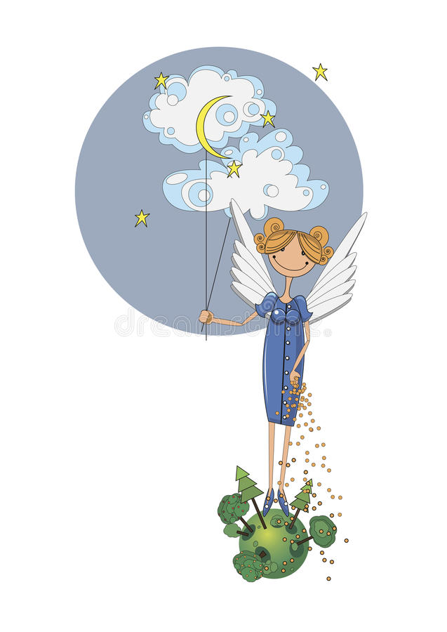 Girl angel holding a cloud royalty free illustration
