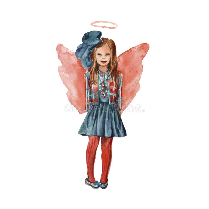 Girl-angel in red. isolated. Watercolor royalty free illustration