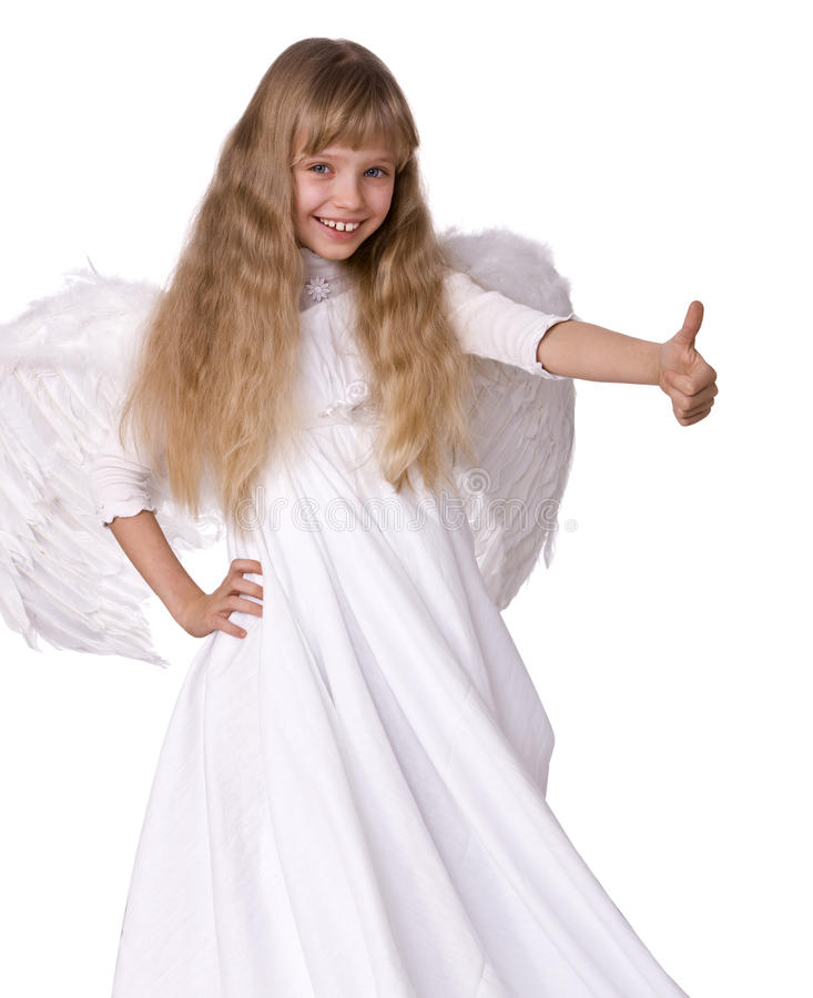 Download Girl  Angel  With Thumbs Up Supper. Stock Photo - Image: 10843336