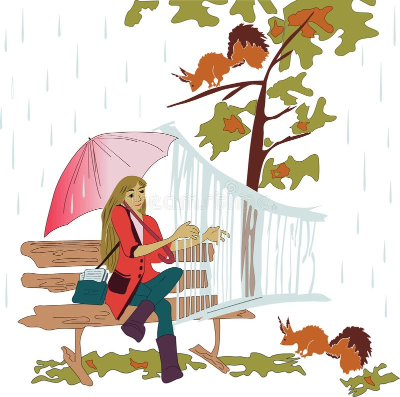 Girl and animals vector illustration
