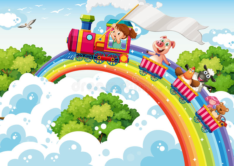 Girl and animals on the train stock illustration