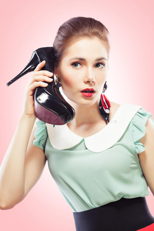 Download Girl Answering The Shoe Call Stock Image - Image: 26742301