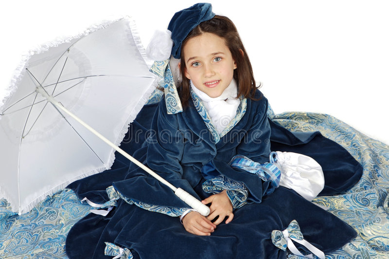 Girl with antique clothes royalty free stock photo