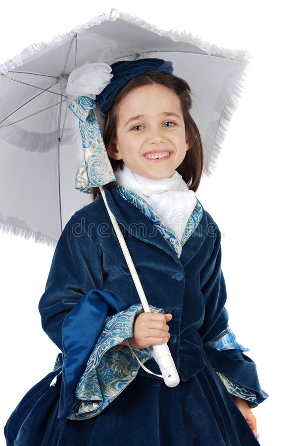 Girl with antique clothes. Cute girl with antique clothes over white background royalty free stock photo