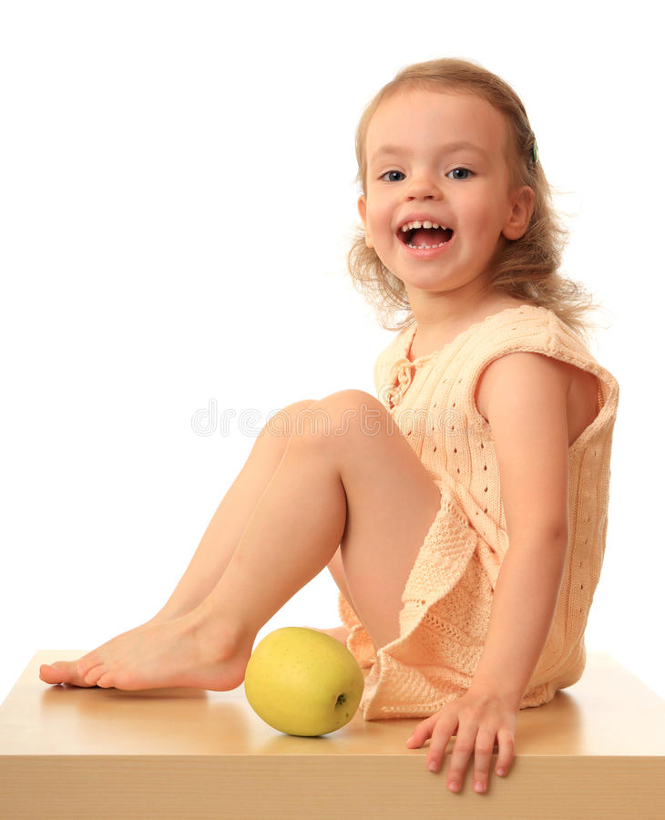 Download Girl with an apple. stock photo. Image of little, girl - 11746804