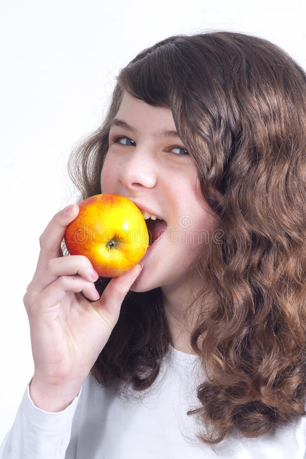 Download Girl with apple stock image. Image of child, appetite - 18893273