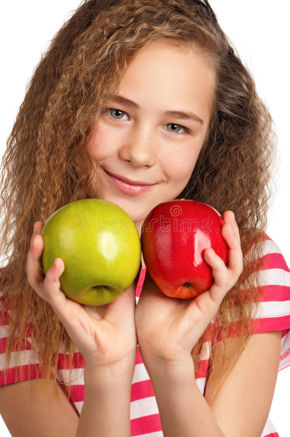 Girl With Apple Royalty Free Stock Photography