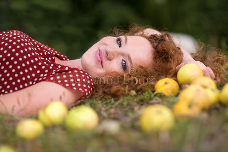 Download Girl with apple stock photo. Image of cheerful, portrait - 26606894