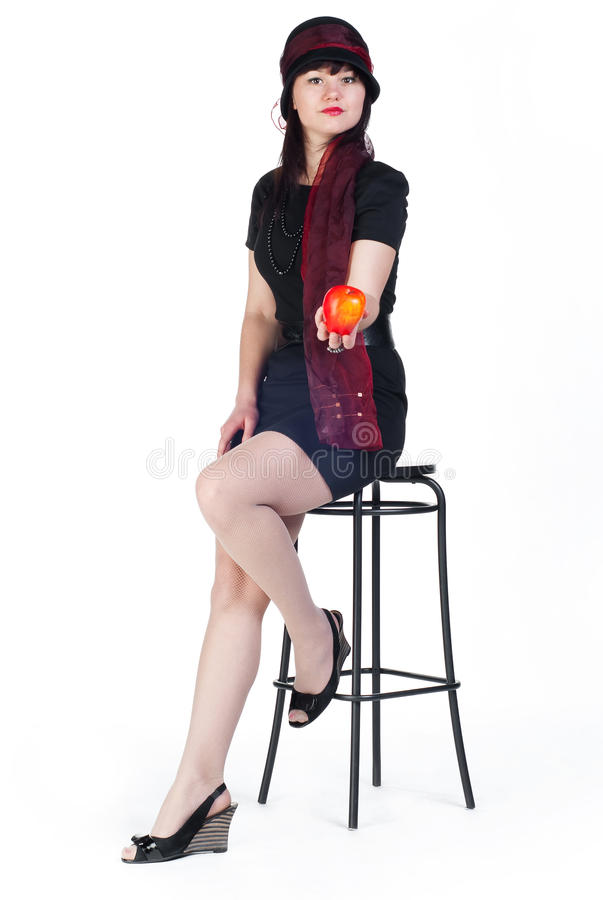 Download Girl With Apple On Stool Royalty Free Stock Images - Image: 16429089
