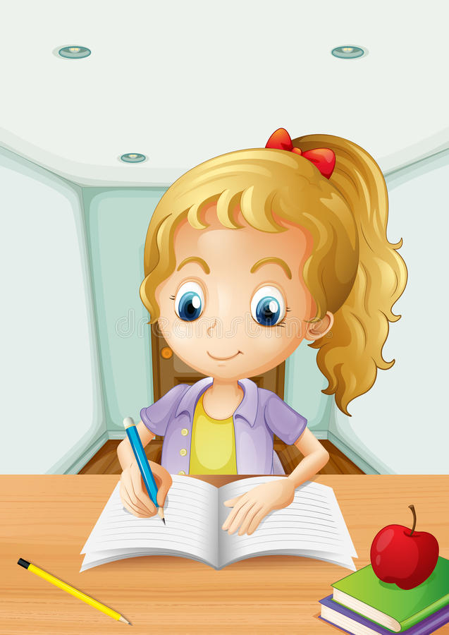 A girl with an apple at the top of a book– royalty free illustration