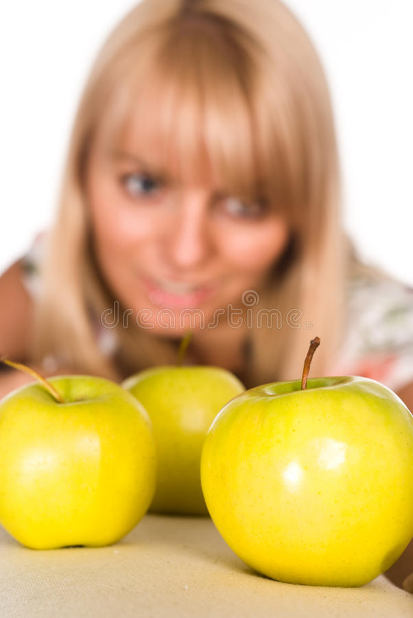 Download Girl and apples stock photo. Image of attractive, model - 21047806